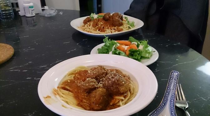 Delicious spaghetti and meatballs
